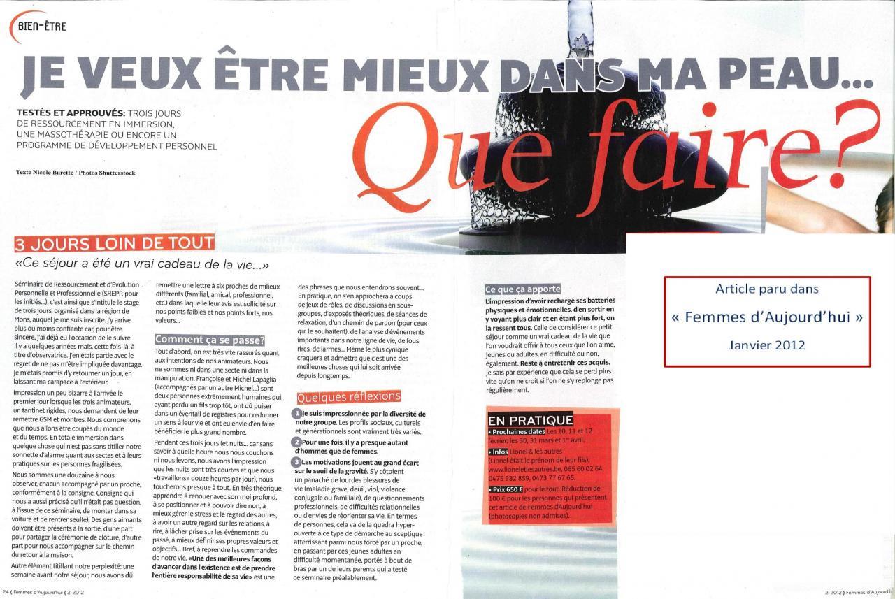Femmes d'Aujourd'hui - Janvier 2012